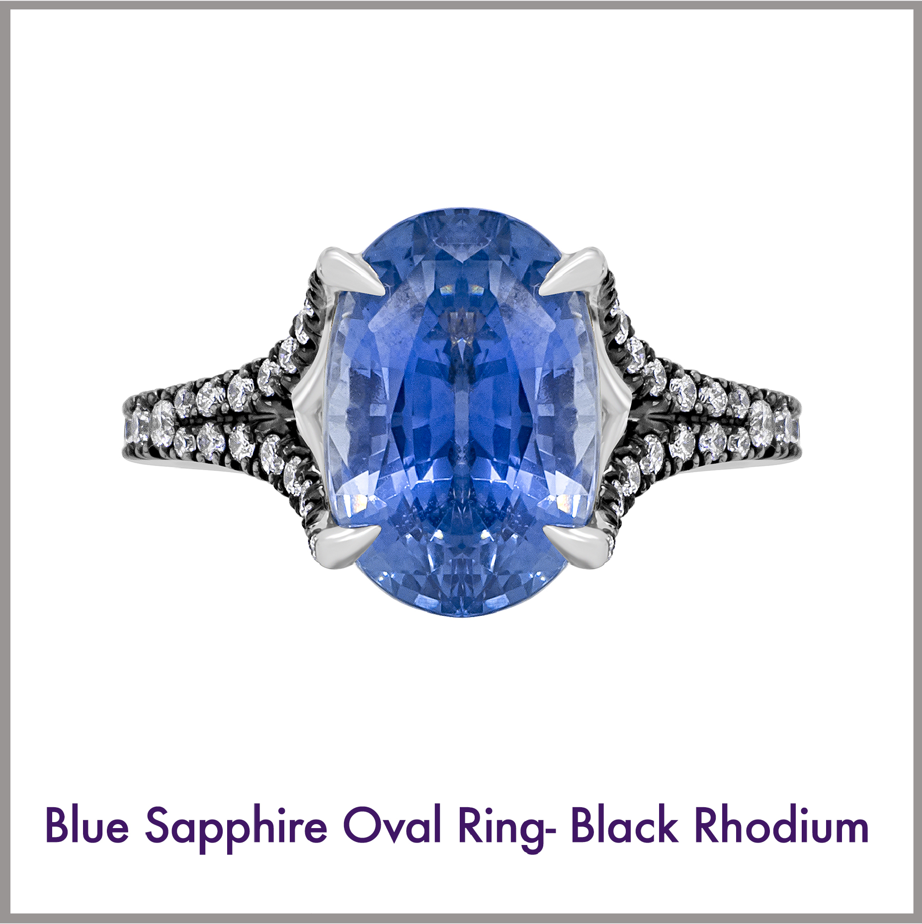 Oval Blue Sapphire Ring with Black Rhodium