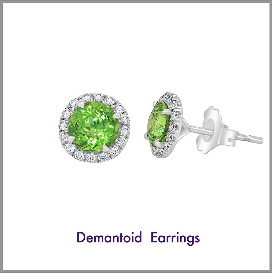 Demantoid Halo Earrings