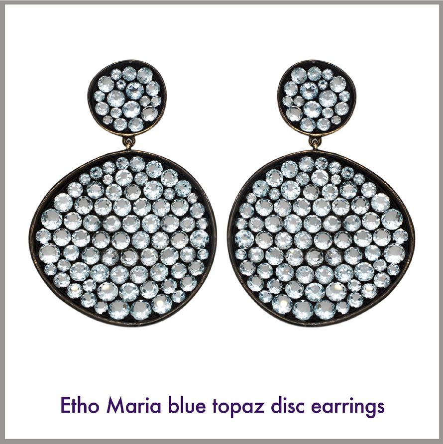 Etho Large Blue Topaz Disc Earrings