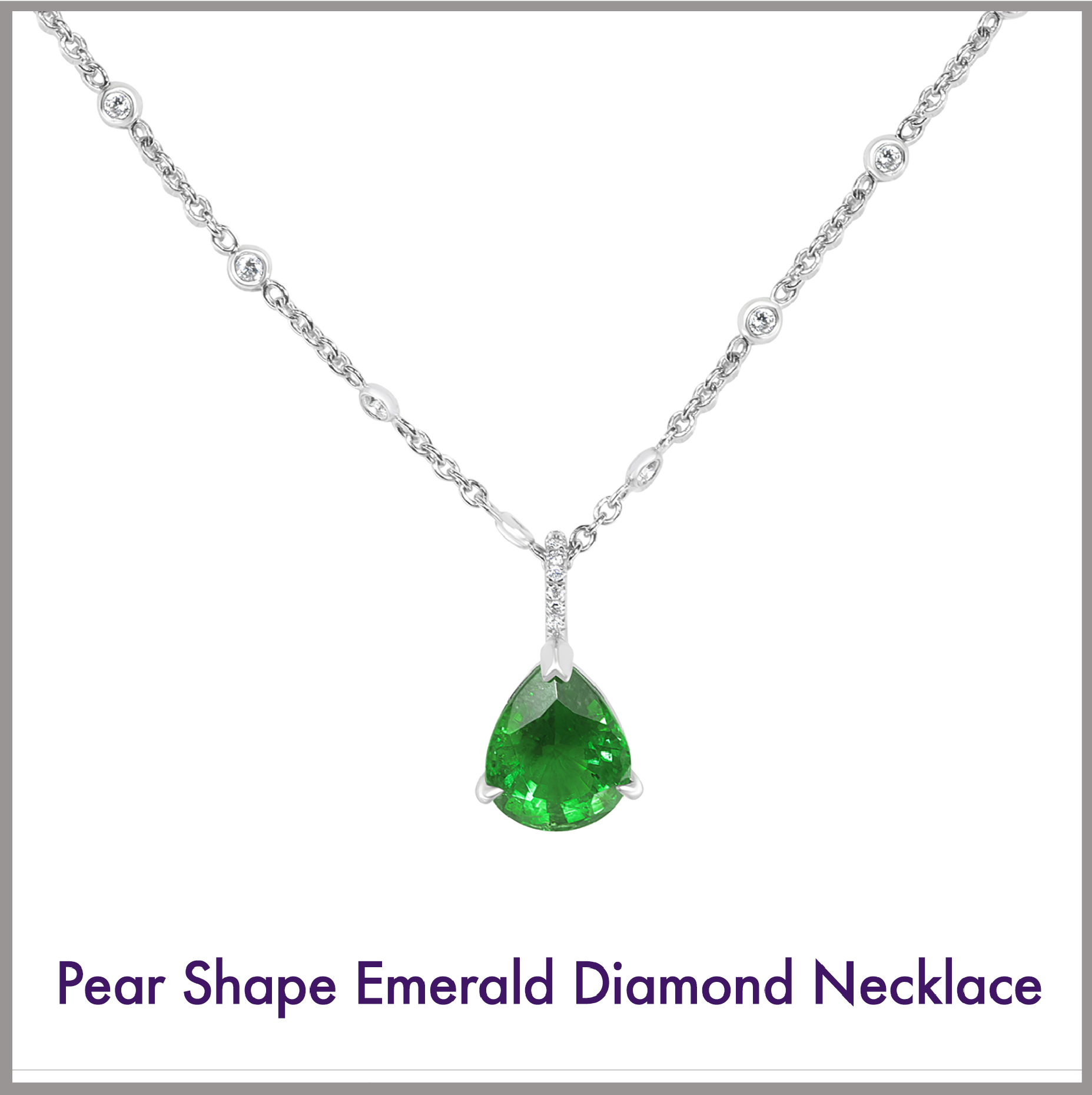 Pear Shape Emerald and Diamond Necklace
