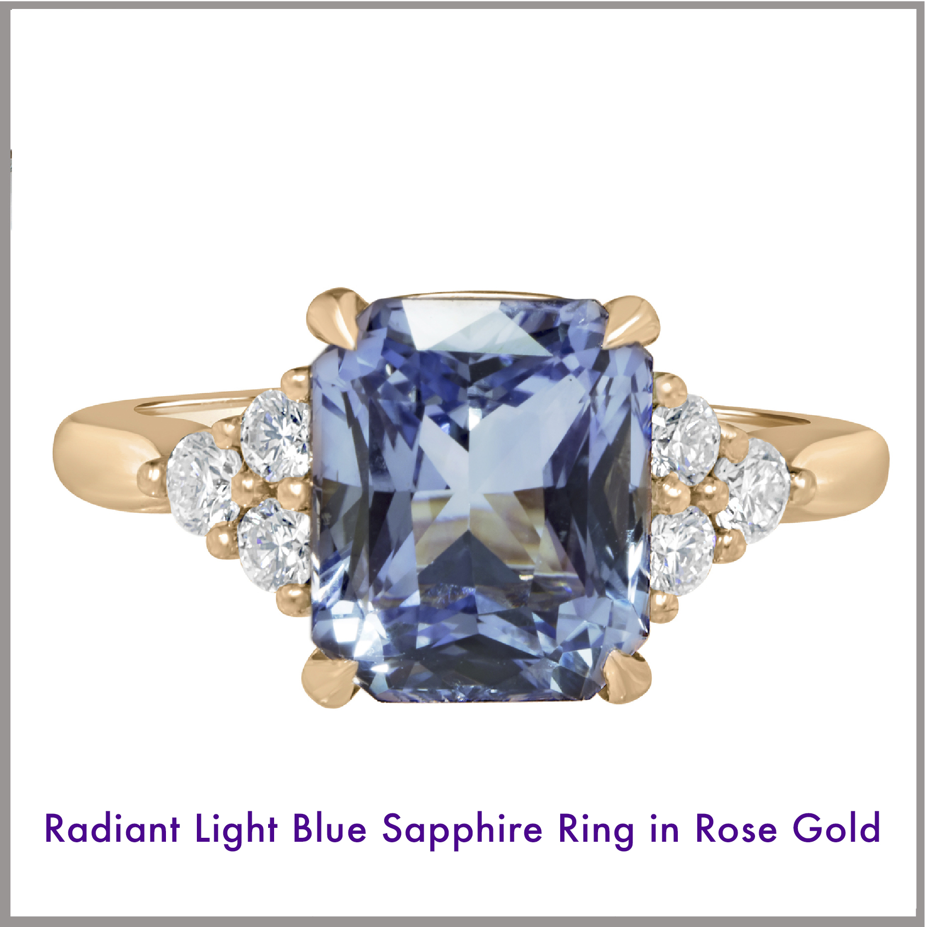 Radiant Light Blue Sapphire Ring in Rose Gold