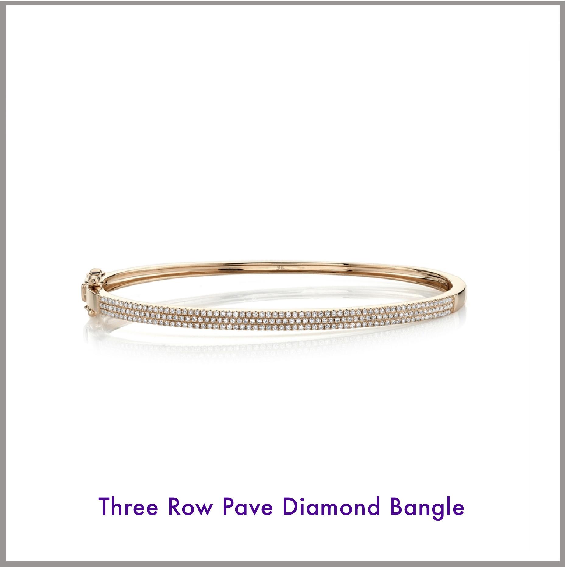 Three Row Pave Diamond Bangle