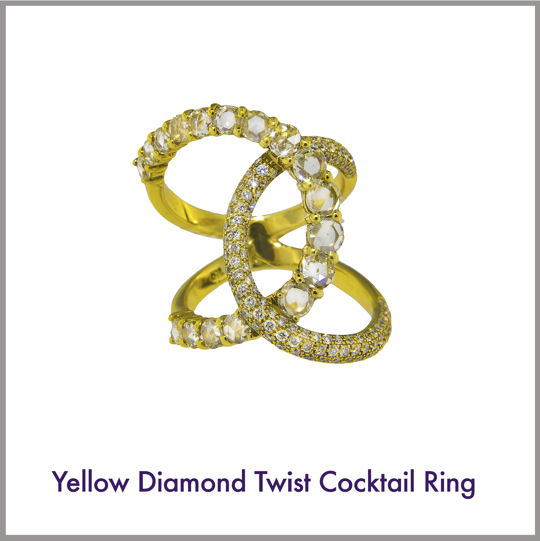 Yellow Diamond Twist Cocktail Ring
